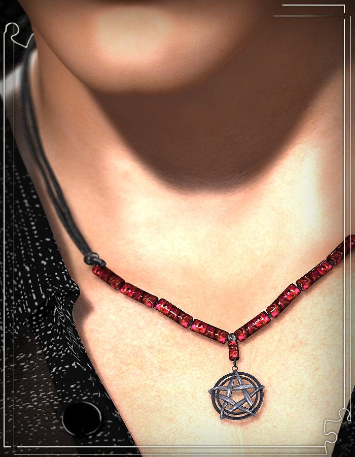 Halskette mit einem der Anhänger, texturiert an einer Figur