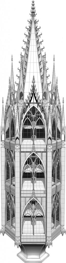 Modell einer gotisch inspirierten Vitrine, Vorderansicht