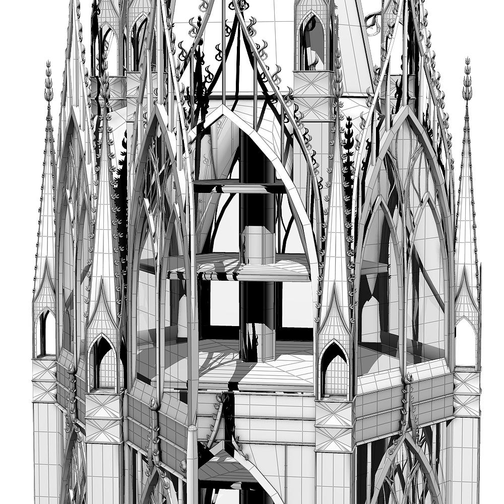 Modell einer gotisch inspirierten Vitrine, Vorderansicht 2