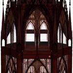 Modell einer gotisch inspirierten Vitrine, texturierte Ansicht