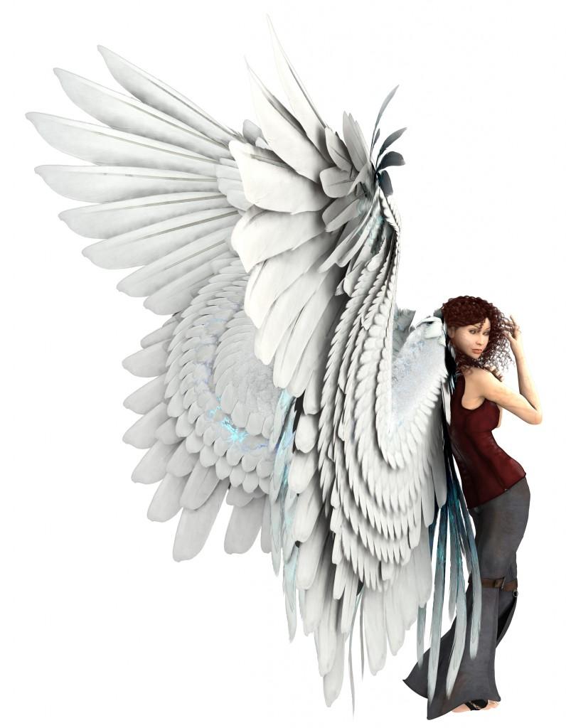 Flügelmodell an Figur