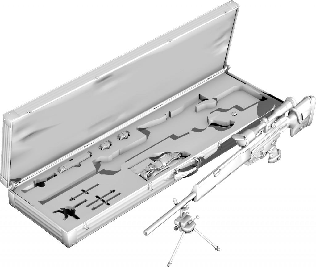 Modell eines Gewehrs mit Koffer und Zubehör