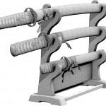Modellset japanischer Schwerter mit Ständer
