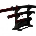 Japanische Schwerter und Ständer, texturiert
